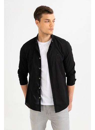 Avva Erkek  Düz Düğmeli Yaka Slim Gömlek A01S2206 Siyah